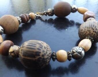 Bohemian Bracelet, Boho, Hippie, Wood Jewelry, Indie, Urban
