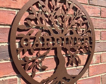 Tree of life with name, Wall Family Tree, Last Name, Tree of life, personalized wedding gift, Family Sign,  metal tree, outdoor wreath,