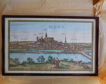 A Framed Print of 17th Century Mons Belgium