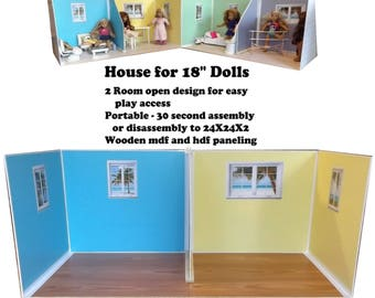 Doll House Beach Cottage dollhouse for 18 inch dolls similar to American Girl or Our Generation or MapleLea