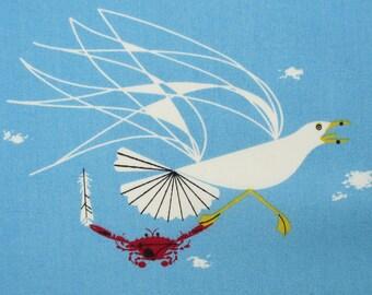 Fabric, Seagull and Crab, Blue Charley Harper Maritime, Ocean Shore Birds, Birch Organic Cotton Poplin, By the Yard