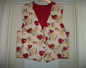 Retro 90s Handmade SWEET VALENTINES CUPID Vest, Cottony w Heart Buttons, Ex Lg maybe 2 X