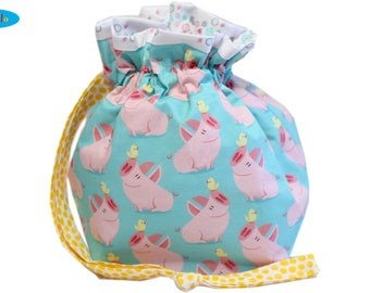 Sock Knitting Bag with Pigs and Peeps
