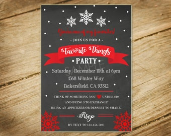 Favorite Things Holiday Christmas Party / Winter / Snowflakes Chalkboard Invitation