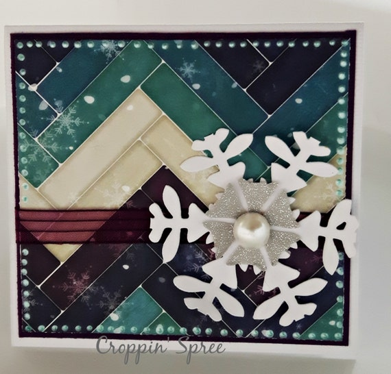 Christmas Card & Gift Card Holder in One: Happy Holidays. Teal, White, Purple, Silver. Frosty Snowflakes. Ready to Ship