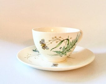JOHNSON BROTHERS Vintage Cup & Saucer, Set of 3 Butterfly Design Johnson Bros Vintage China