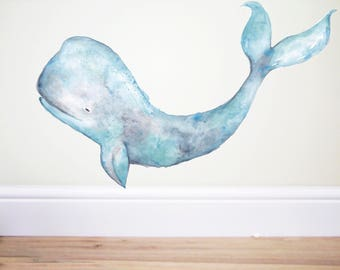 Humpback Whale decal,Whale sticker,Whale wall decal, under the sea decor, whale art, nursery wall decal, mermaid decal, mermaid decor, Art