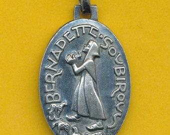 Fernand Py Large Art Deco French silver religious charm medal pendant St Bernadette Soubirous  (ref 0717)
