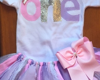 Pink, Lavender, and Silver Birthday Tutu Outfit