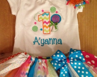 Candy Shop Birthday Scrap Fabric Tutu Outfit