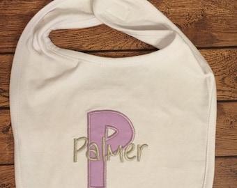 Purple and Grey Initial Baby Bib