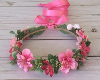 Pink Flower Crown, Bright Pink Flower Girl Flower Crown, Pink Wedding, It's a Girl Baby Shower Crown, Maternity Photo Shoot, Bridal Shower