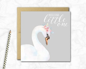 New Baby Girl Mini Card {GREY SWAN}