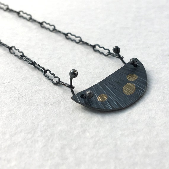Small Sessile Necklace in Recycled Sterling Silver & 18k Gold