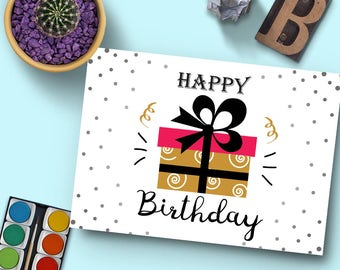 Happy Birthday Printable Card | Template | Instant Download | Elegant Design | Ready to Print