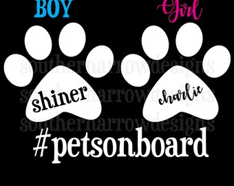 Paw Print - Pets On Board - Car Vinyl Decal - Personalized - Dogs or Cats