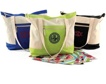 Monogrammed Colorblock Tote Bag (available in three colors)