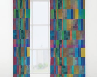 Geometric Pattern Window Curtains   Blue Green Gold, Colorful, Abstract  Pattern Bedroom Curtain,