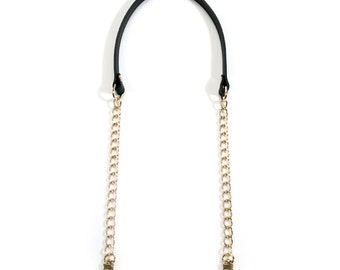 """30"""" byhands Genuine Leather Shoulder Bag Strap with Metal Chain (40-8301)"""