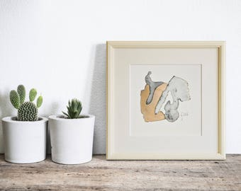 Small Abstract Painting, Framed Modern Art, Gold Watercolor, Minimalist