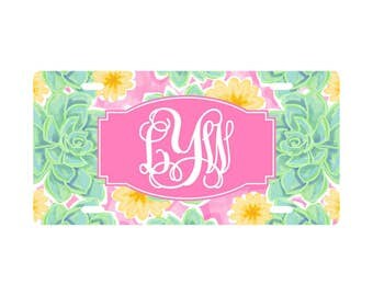 Monogrammed Lilly Pulitzer Inspired Car Tag, Monogram Car Accessories, Cute Car Accessories, Custom Car Accessories, For Her Car Accessories