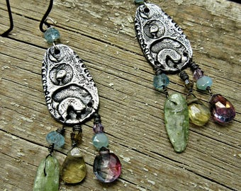Boho Nelly earrings by Weathered Soul TM, Quartz, Inviciti, amethyst, peruvian opal, gypsy boho, cowgirl, turquoise, sterling green amethyst