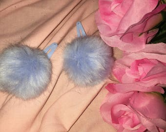 90's Babe Bunny Tail Hair Clips Baby Blue