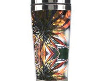 Fractal Art Cup. Metal Travel Mug,  Blue Mountain Lion Marijuana Print Coffee Mug, Anniversary Gifts for Men, Anniversary Gifts for Women