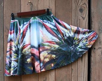 Womens Skater Skirt, Cannabis Skirt, Rave Skirt, Festival Skirt, Womens Short Skirt, Clubwear for Women, Marijuanna Clothing, Running Skirt