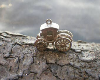 Vintage Sterling Silver Horse Carriage Charm Pendant