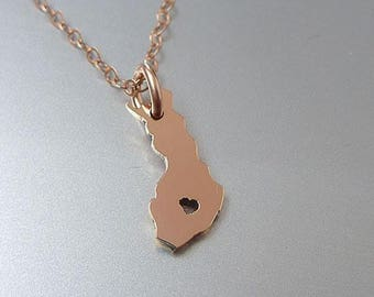 Tiny 14K Rose Gold Filled Finland Necklace - Finland Country Necklace - Custom Heart - Finland Map Necklace - Love Finland