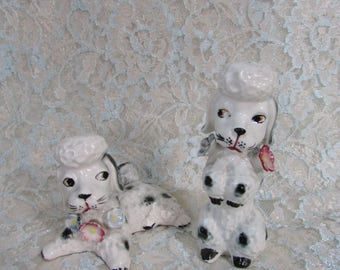 Poodle Salt and Pepper Shakers, Vintage Spotted Poodle Salt and Pepper Shakers, White Poodle Shakers, Black and White Shakers