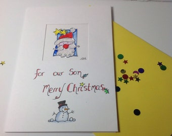 "Santa Card "" For our Son Merry Christmas"" ,Santa Christmas card, Sons christmas card, male christmas card."