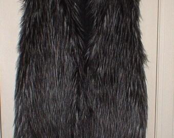 Grey Black Faux Fur Knit Vest Adriana Papelli Lined 2X EXC