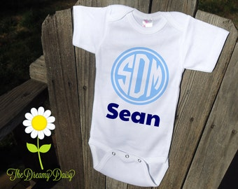 Personalized Monogram Bodysuit - Newborn Boy Coming Home Outfit - Personalized Bodysuit with Name & Monogram - Custom Baby One Piece