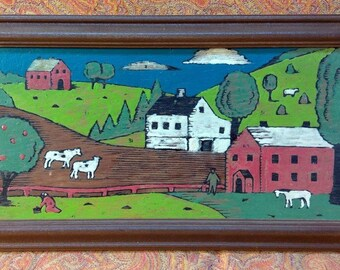 Old Vintage Oil Painting Country Farm Landscape Barn Cows Horse Barn Original