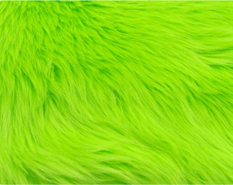 Lime Green Luxury Shag Faux Fur Fabric
