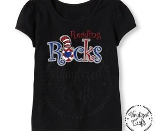 Dr Seuss Reading Rocks Glitter T-shirt