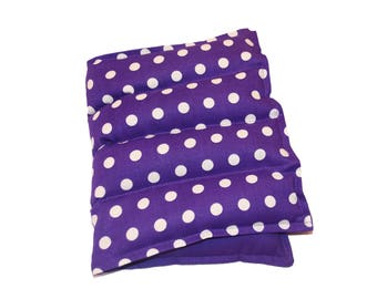 Large Lavender Flax Seed  Purple Polka Dot Cotton and Flannel Hot Cold Pad Heat Pack Microwavable Heating Pad Herbal Heat Pack