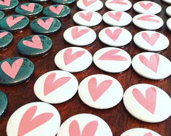 Heart Pinback Buttons - Set of 10 - 1 inch pinback buttons