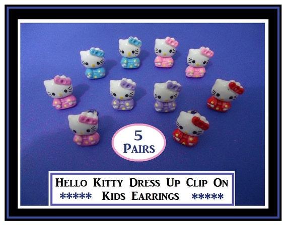 kids clip on earrings kitty cat dress up earrings kids clip on play earrings. Black Bedroom Furniture Sets. Home Design Ideas