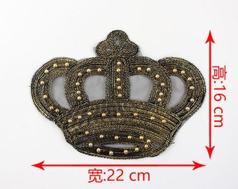 crown beaded embroidered applique patch Vintage patch Clothing decoration patch