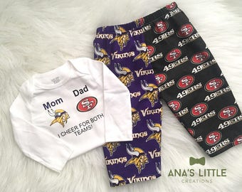 Custom House Divided Football Bodysuit (Vikings- 49ers) I Cheer For Both Teams and Pants or Shorts 2pc Set