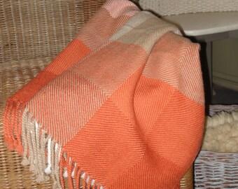 Throw or Blanket, 100% Alpaca Wool, Handwoven, colours off white, orange, rust & light camel
