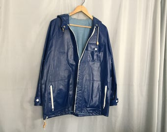Blue Raincoat Vintage Jacket Women's Medium