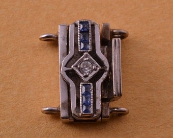 18ct White Gold Vintage Clasp With Sapphires (839t)