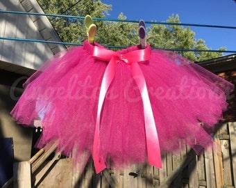 Hot pink fushia tutu  - first birthday outfit - cake smash outfit - first birthday tutu - baby tutu - 6M - 12M - READY TO SHIP