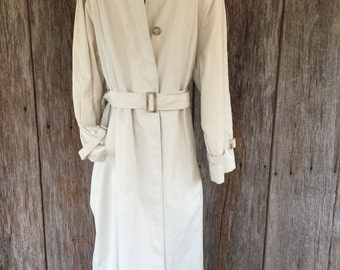 BURBERRYS of london tan trench coat 10 long womens belted plaid