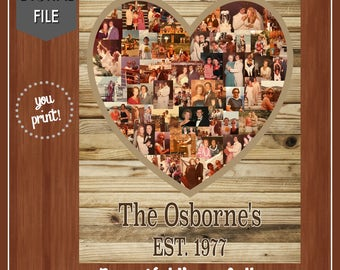 Heart Shaped Photo Collage - Anniversary Gift - DIGITAL - Wooden Background - 40th Anniversary - 50th Anniversary - Any Anniversary
