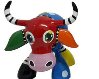 Statue of cow multicolor resin, for collection or decoration, length 5,1 inches (14 cm)